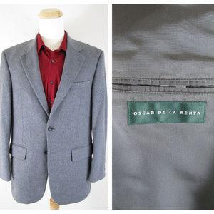 Oscar De La Renta Gray Wool Cashmere Sport Coat 40